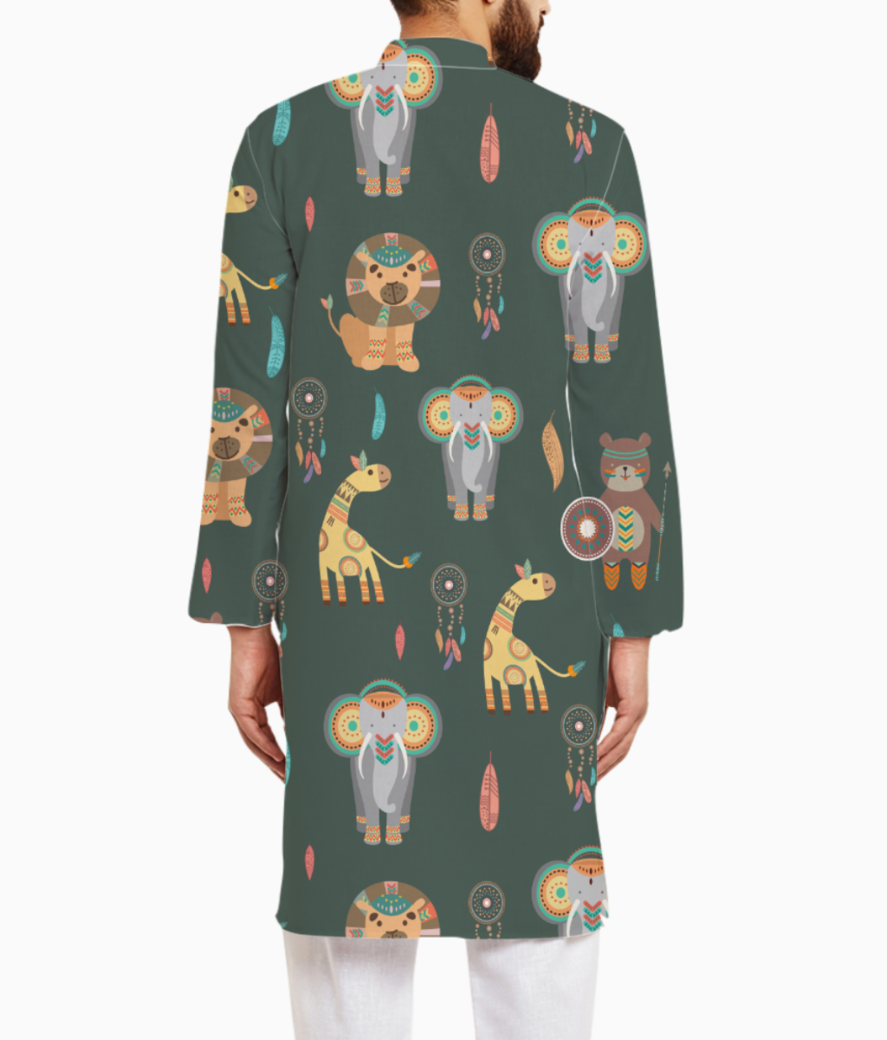 Tribal animals kurta back