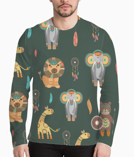 Tribal animals henley front