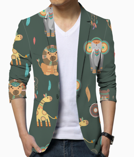 Tribal animals blazer front
