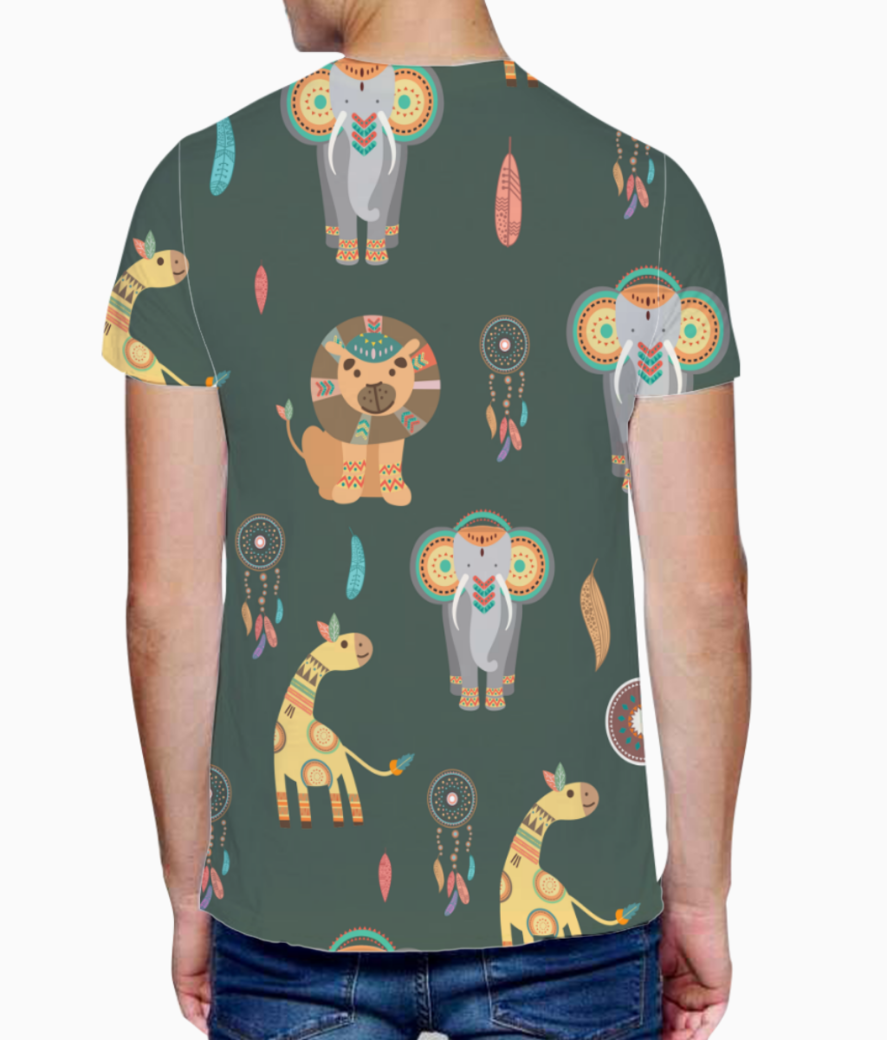 Tribal animals t shirt back