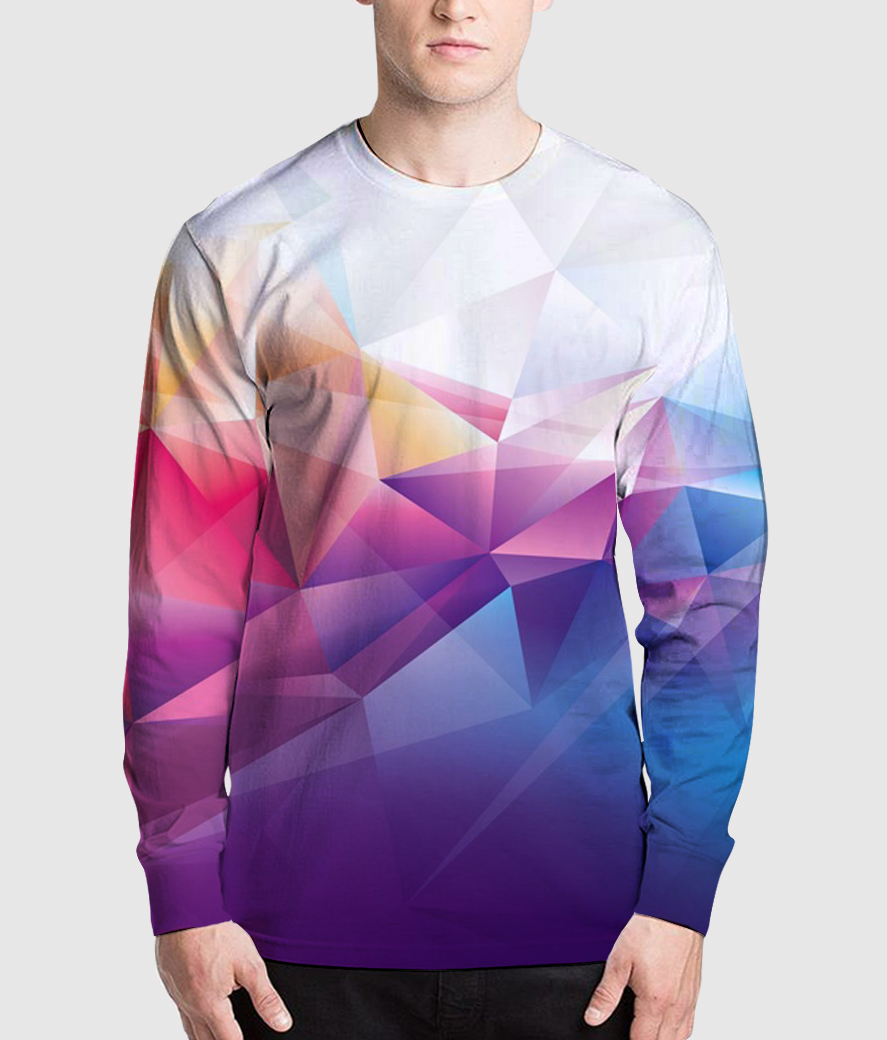 Poly effect men's printed henley