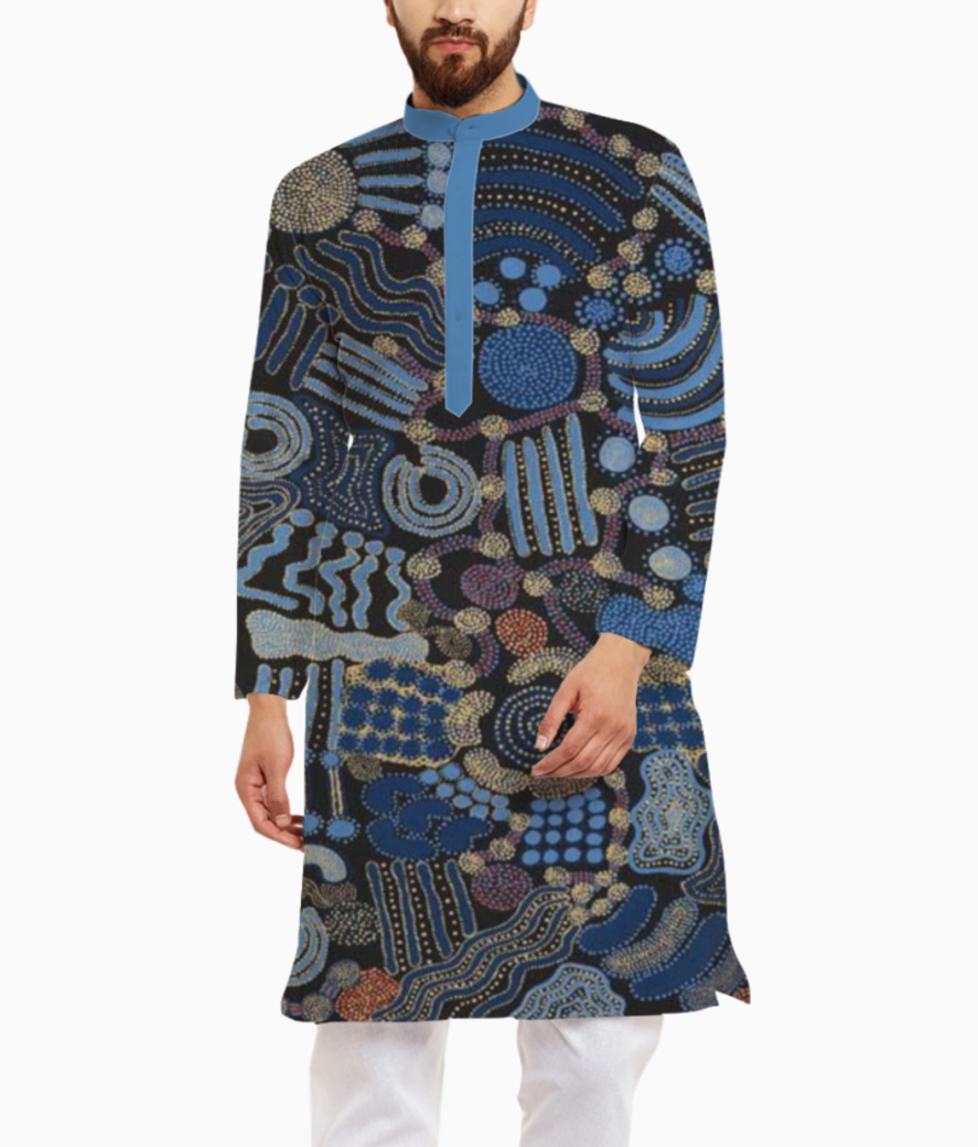 Shades of blue kurta front