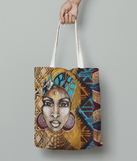 African woman stare tote bag front
