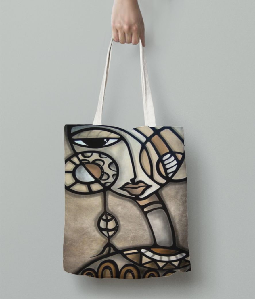 Africal girl tote bag back
