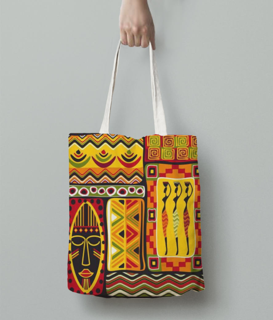 African pattern tote bag back