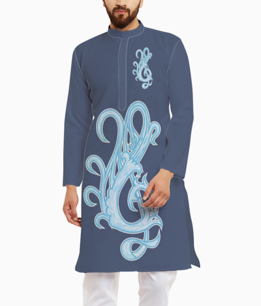 Violin design in grey kurta front