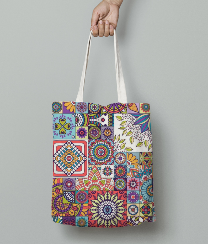 Moroccan design pattern with mandalas free vector moroccan inspired rugs uk tote bag front