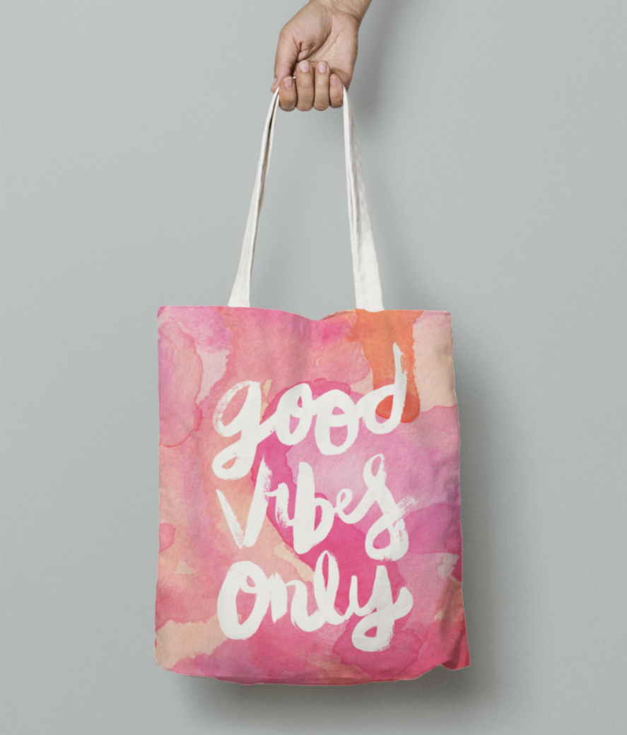 Good vibes only tote bag front