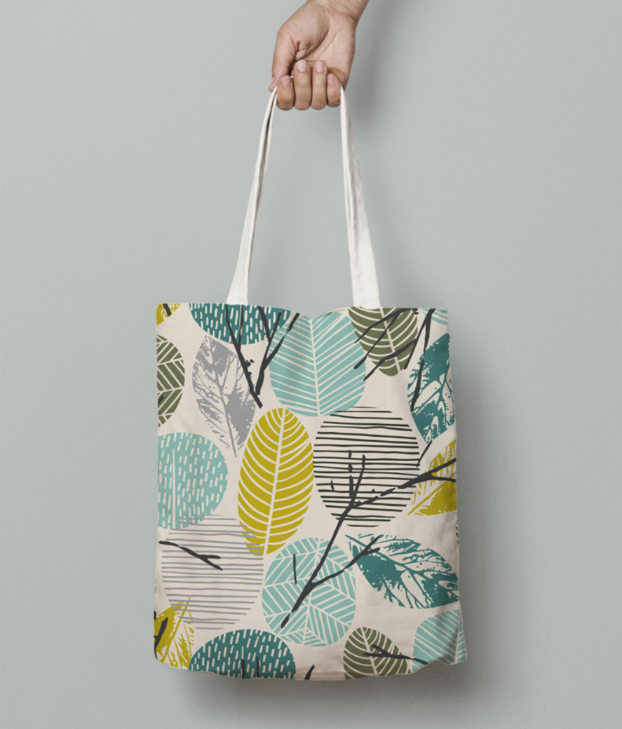 Abstract leaves tote bag front
