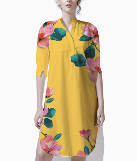 Oil painted floral kurti front