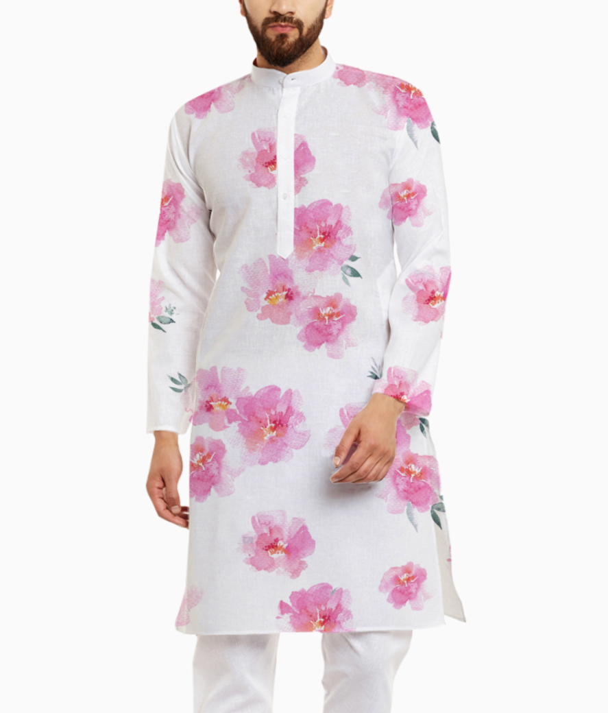 Stock photo this modern pink floral pattern features a repeating flower background design can be used in 1043173132 kurta front