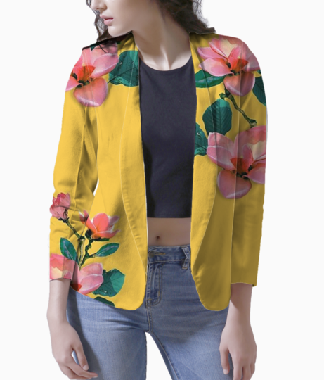 Oil painted floral blazer front