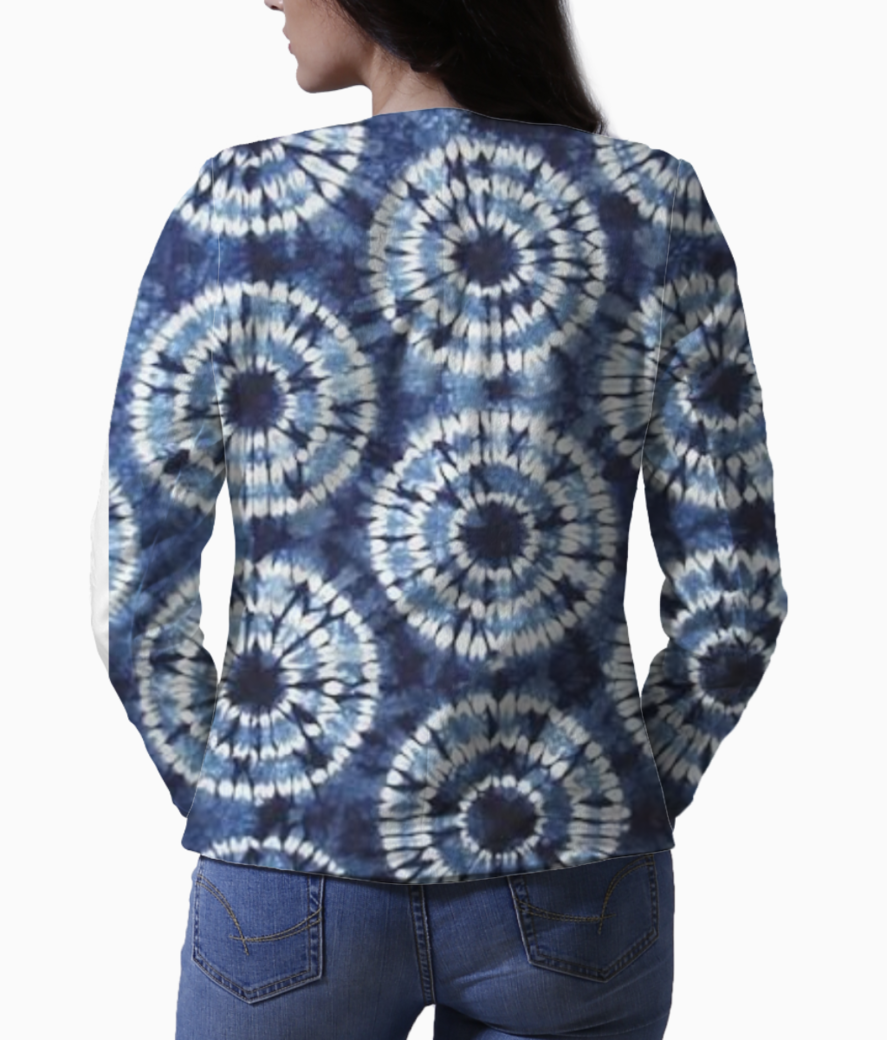 Indian textile print blazer back