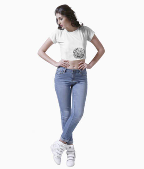 Black white rose poster crop top front