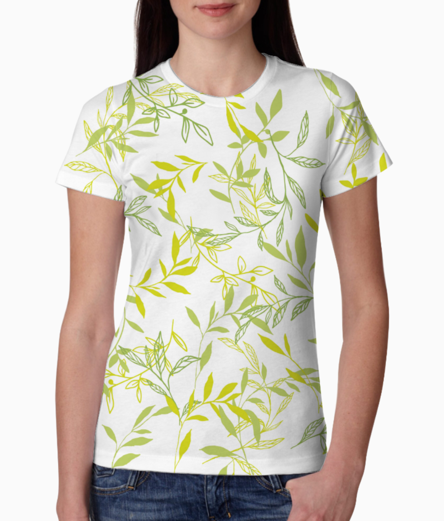 T shirt leaves tee front