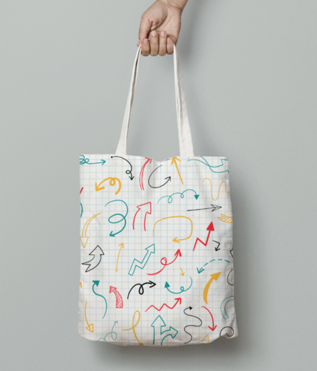 Arrow pattern tote bag front
