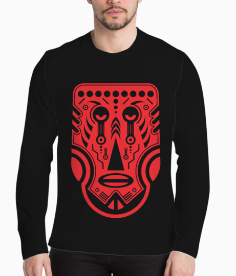 African tattoo red henley front