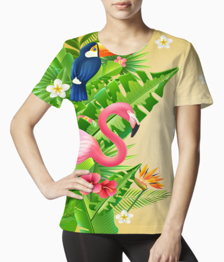 Flamingo tropical design tee front