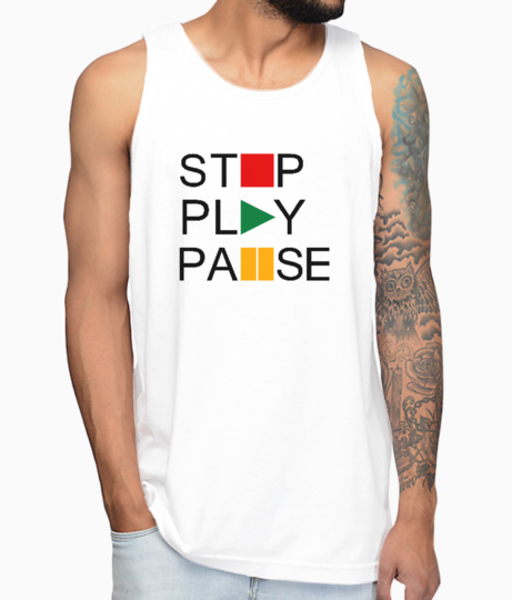 Stop play pause vest front