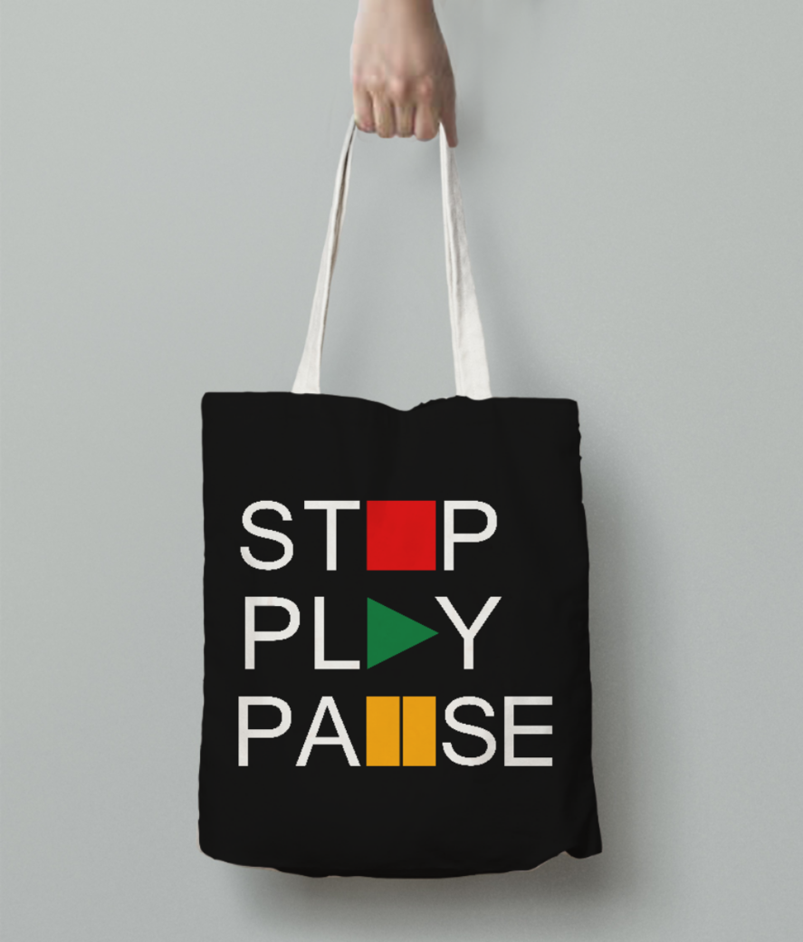 Stop play tote bag back