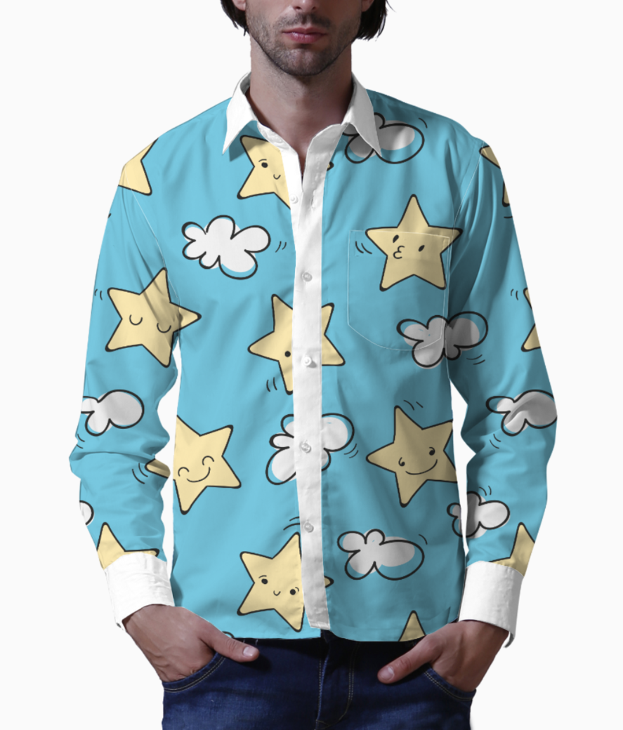 Star pattern basic shirt front