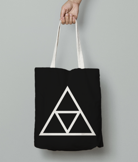 Vector triple triangle tote bag front