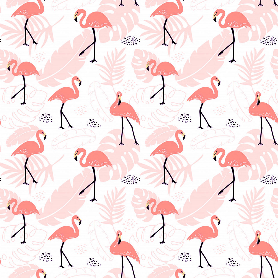 Cute seamless pattern with pink flamingos tropical plants 76147 133