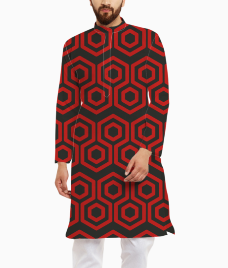 Red hexagone kurta front