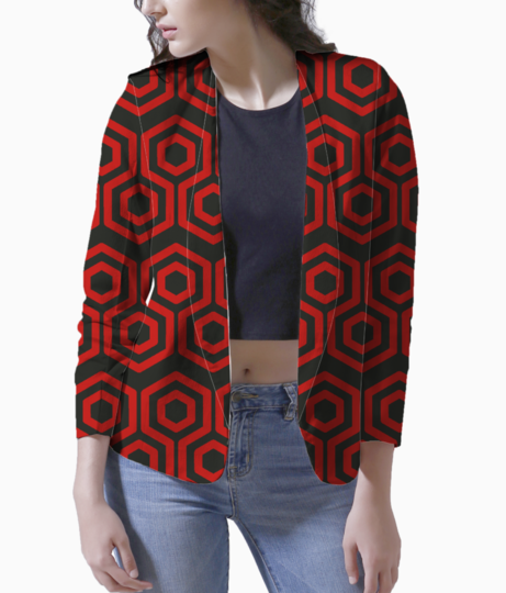 Red hexagone blazer front