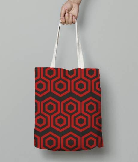 Red hexagone tote bag front