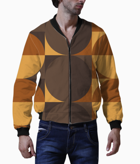 Brown circular square pattern bomber front