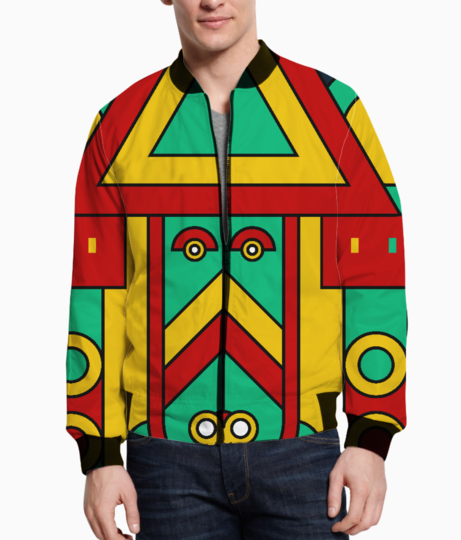 Colorful tribal aztec bomber front