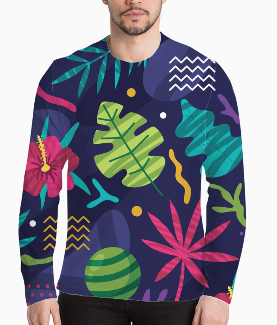 Tropical pattern henley front