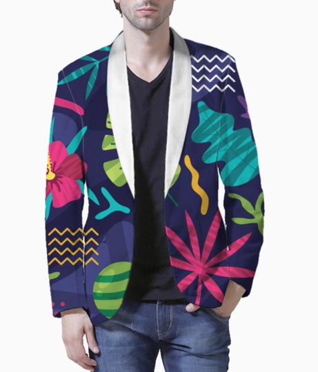 Tropical pattern blazer front
