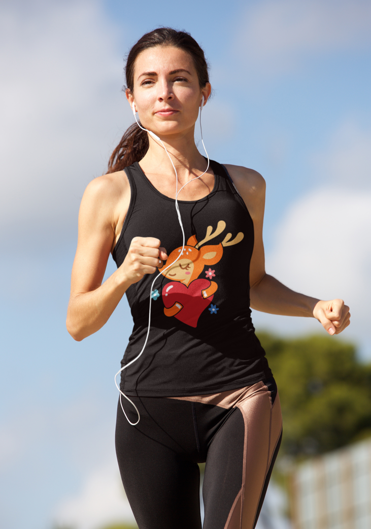 Tank top mockup of a woman running on a sunny day 37887 r el2