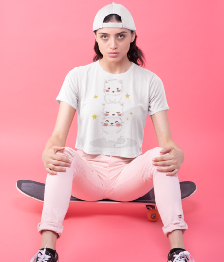 Cute kitty family 9967 210 crop top front