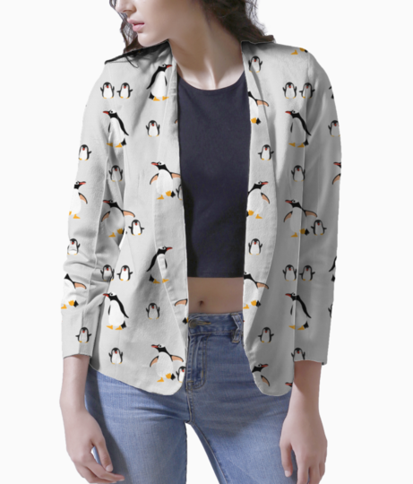 Cute penguins family seamless pattern background 39151 193 blazer front