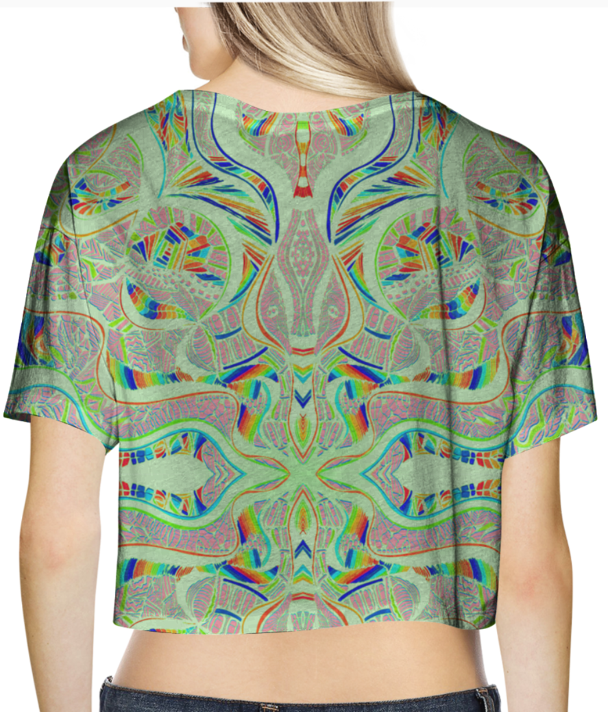 Abstract green pastel crop top back
