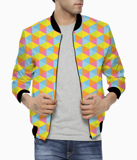 Hexagon seamless pattern background bomber front