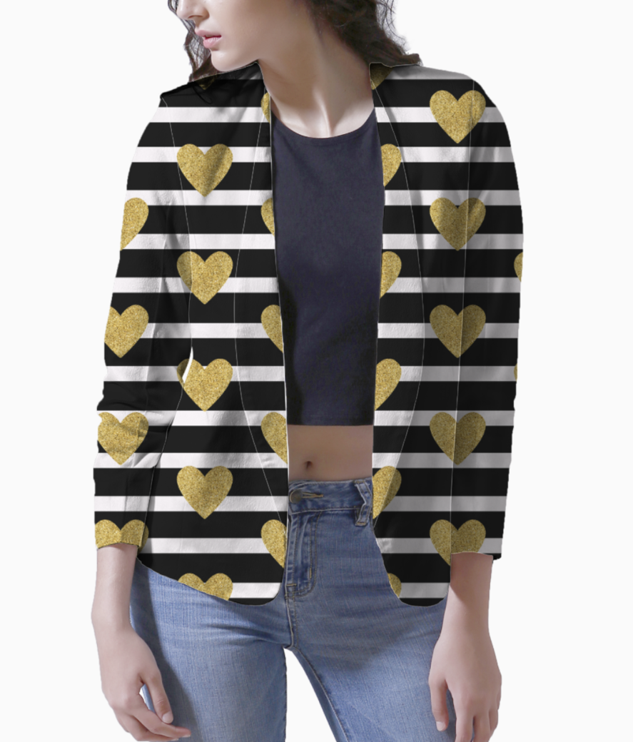 Black stripes with golden hearts blazer front