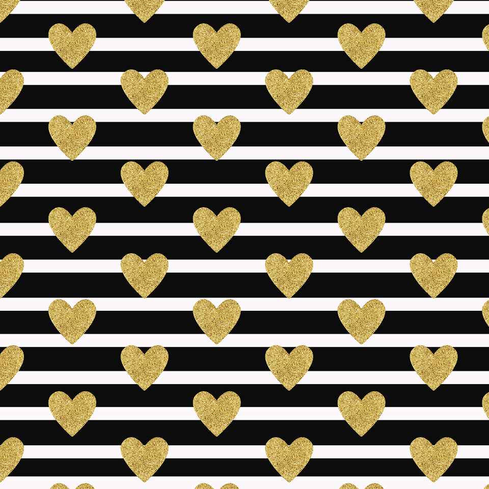 Black stripes with golden hearts