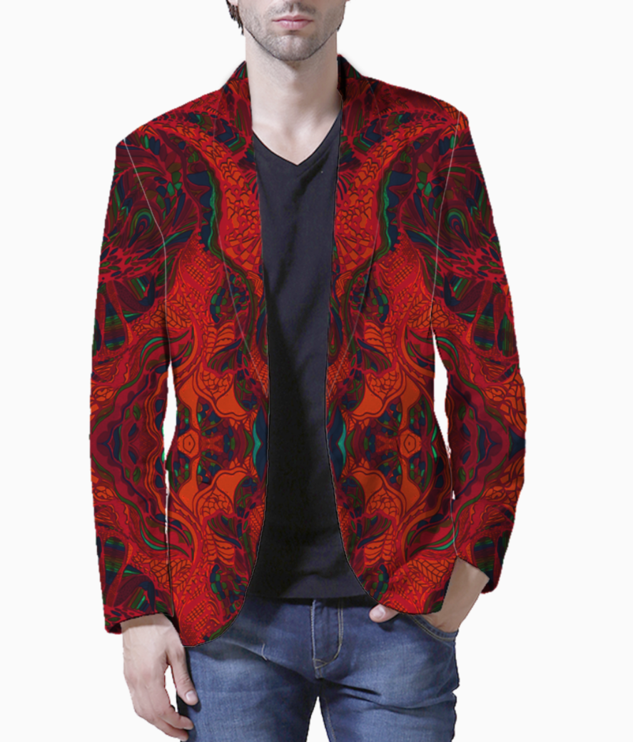 Abstract firered blazer front