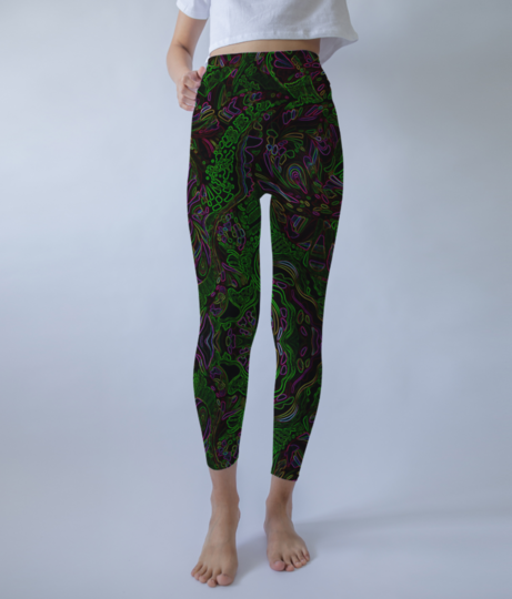 Abstract fire green leggings front