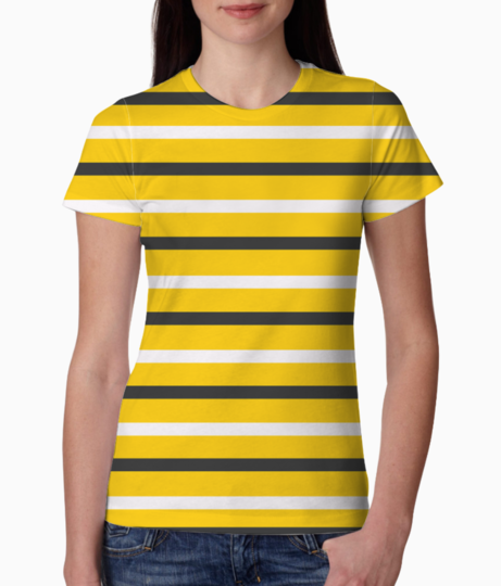 Yellow  stripes black and white tee front