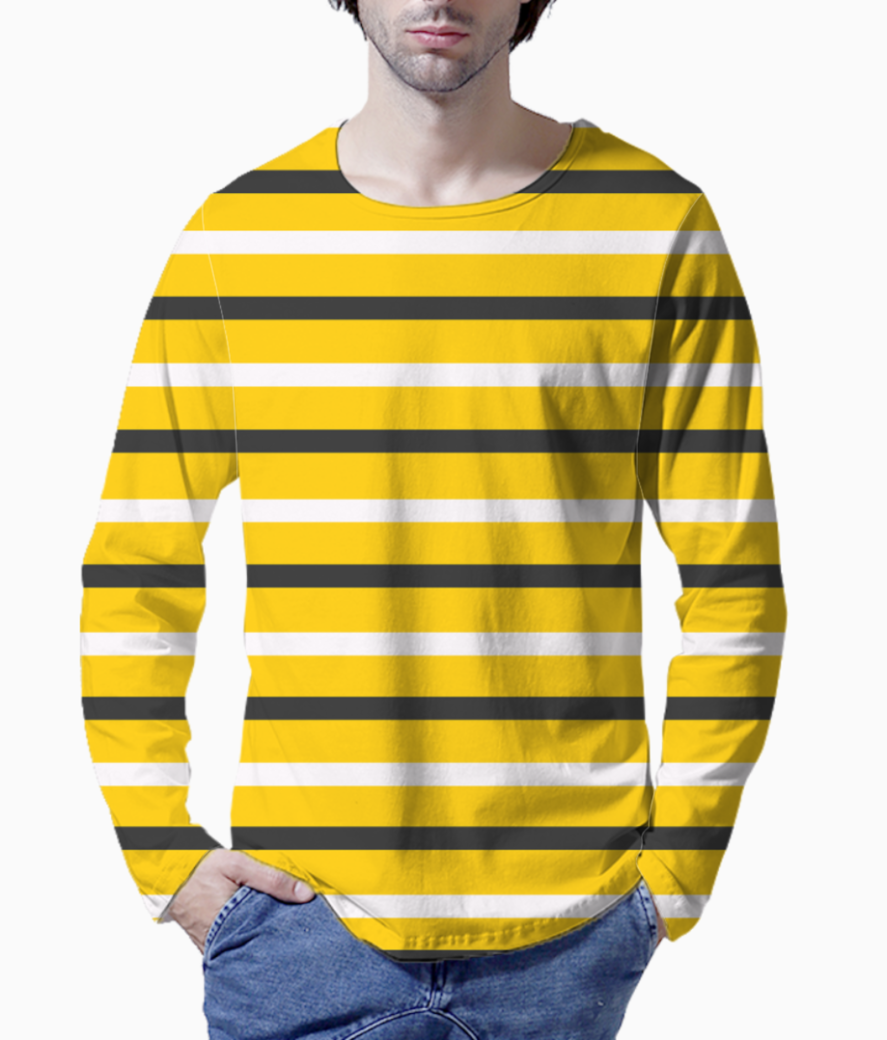 Yellow  stripes black and white henley front