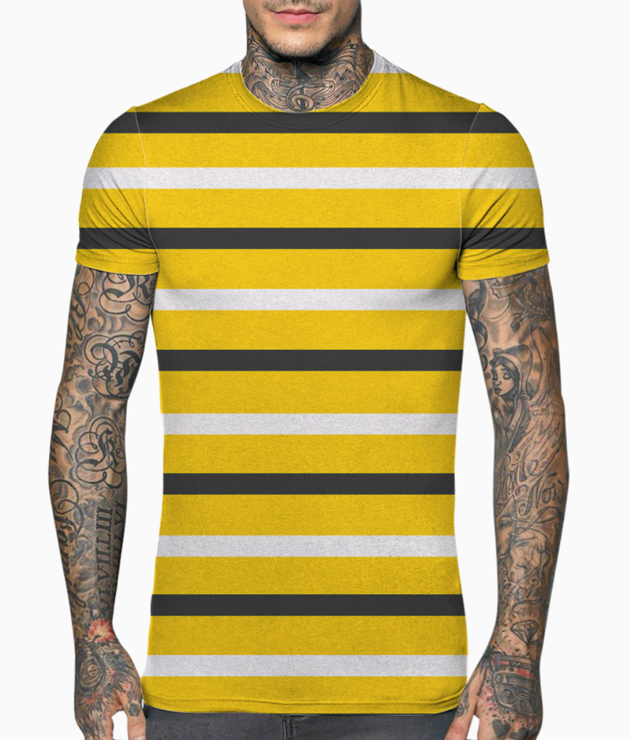 Yellow  stripes black and white t shirt front