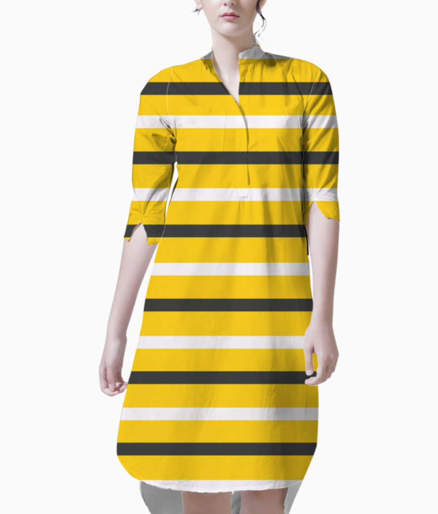 Yellow  stripes black and white kurti front