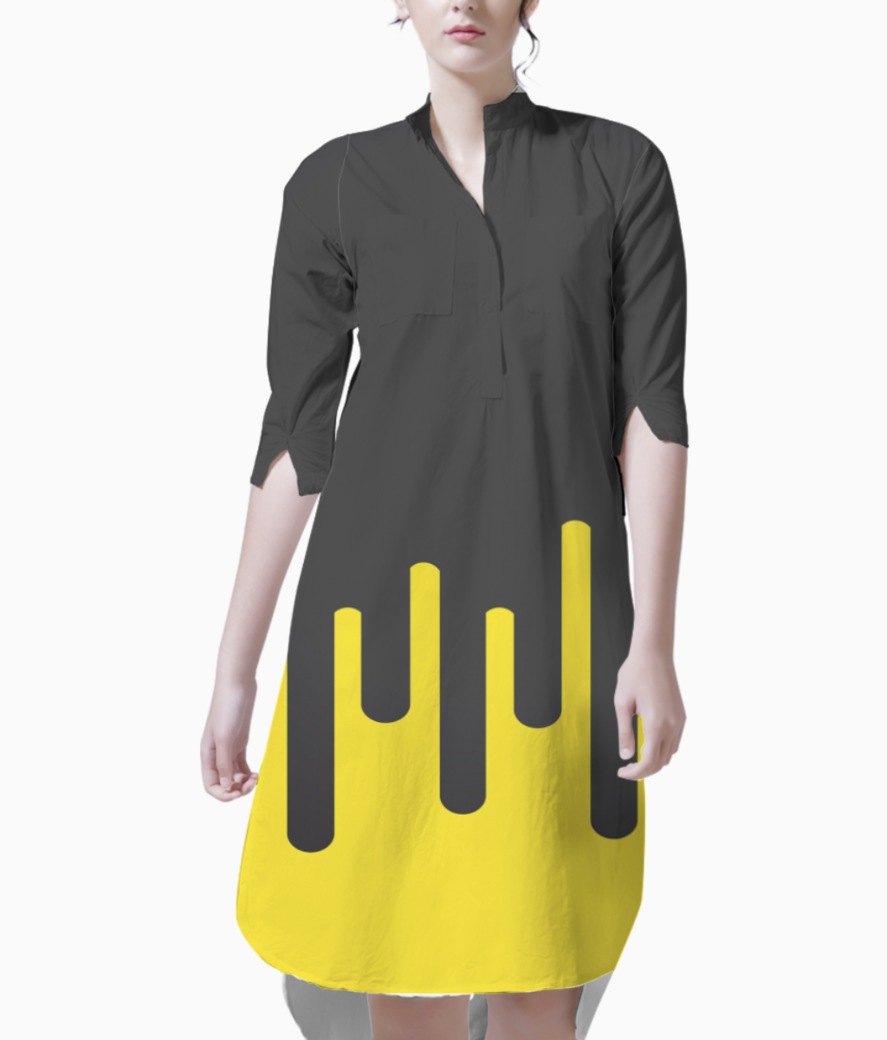 Lemon ice melting ice cream kurti front