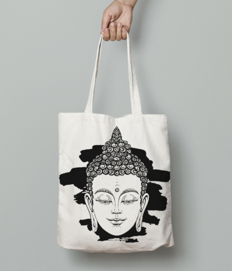 64043942 portrait of a buddha vector illustration on white background with a smear of ink black the esoteric  tote bag front