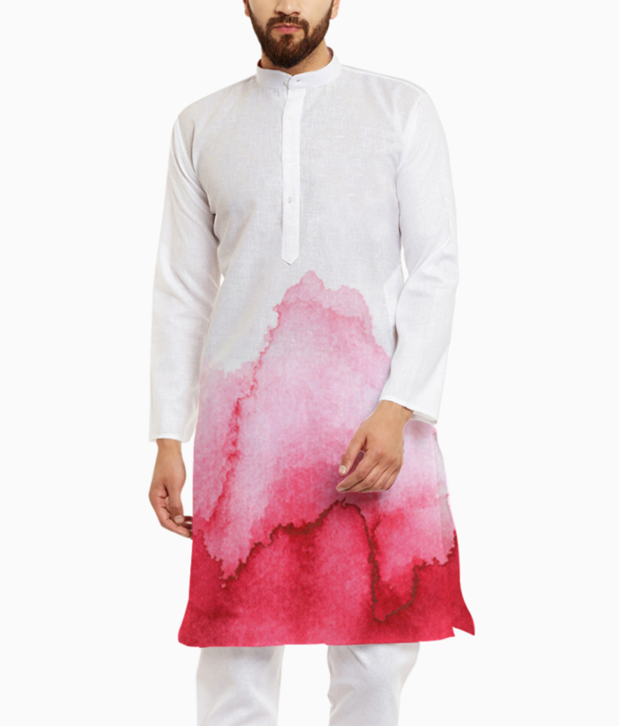 Red blots paints white paper 23 2148015643 kurta front
